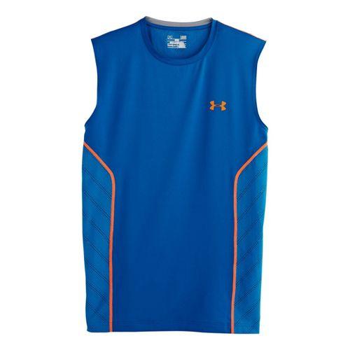 Mens Under Armour HeatGear Sonic Armourvent Sleeveless Technical Tops - Superior Blue XL