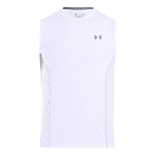 Mens Under Armour HeatGear Sonic Armourvent Sleeveless Technical Tops - White XL