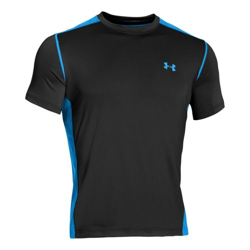 Mens Under Armour Armourvent T Short Sleeve Technical Tops - Black/Electric Blue L
