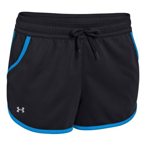 Womens Under Armour UA Rally Shorts - Black/Electric Blue M