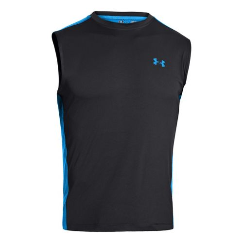 Mens Under Armour Armourvent T Sleeveless Technical Tops - Black/Electric Blue XXL