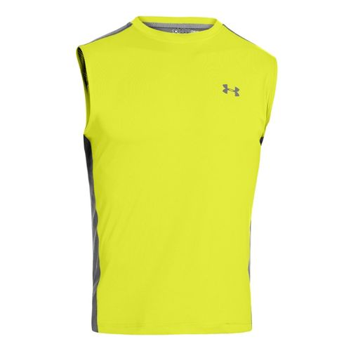 Mens Under Armour Armourvent T Sleeveless Technical Tops - Flash Light L