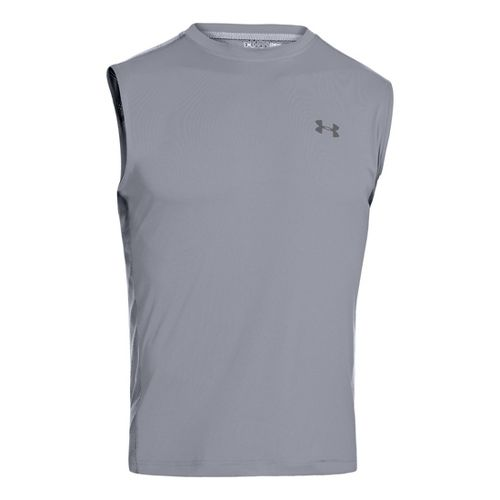 Mens Under Armour Armourvent T Sleeveless Technical Tops - Steel S