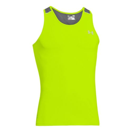 Mens Under Armour Armourvent Run Singlets Technical Tops - High Vis Yellow L