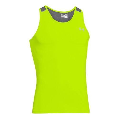 Mens Under Armour Armourvent Run Singlets Technical Tops - High Vis Yellow XL