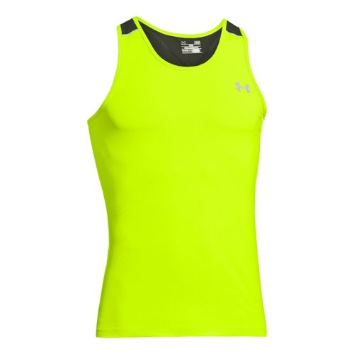 Mens Under Armour Armourvent Run Singlets Technical Tops - High Vis Yellow/Rifle Green L