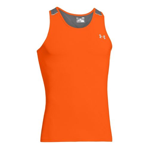 Mens Under Armour Armourvent Run Singlets Technical Tops - Orange XXL