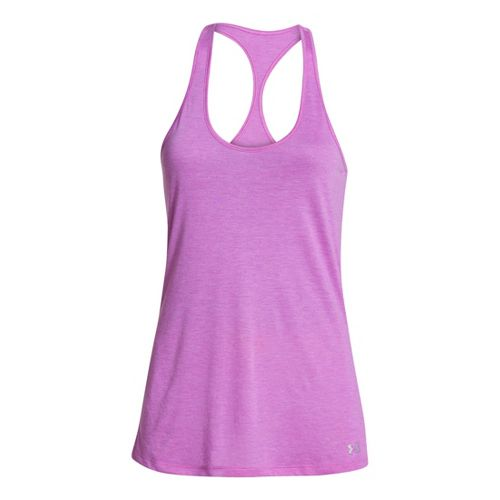 Womens Under Armour UA Achieve T-Back Tanks Technical Tops - Exotic Bloom M