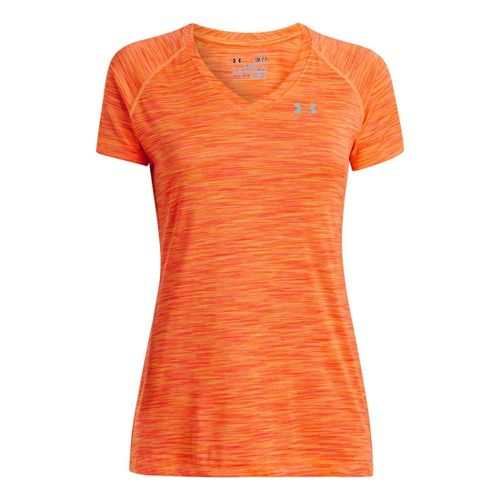 Womens Under Armour UA Tech T Space Dye Short Sleeve Technical Tops - After Glow ...