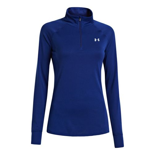Womens Under Armour UA Tech Long Sleeve 1/2 Zip Technical Tops - Caspian XS