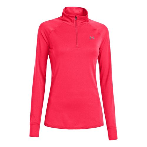 Womens Under Armour UA Tech Long Sleeve 1/2 Zip Technical Tops - Neo Pulse/Silver M ...