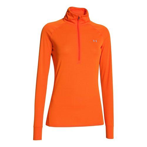 Womens Under Armour UA Tech Long Sleeve 1/2 Zip Technical Tops - Outrageous Orange XL ...