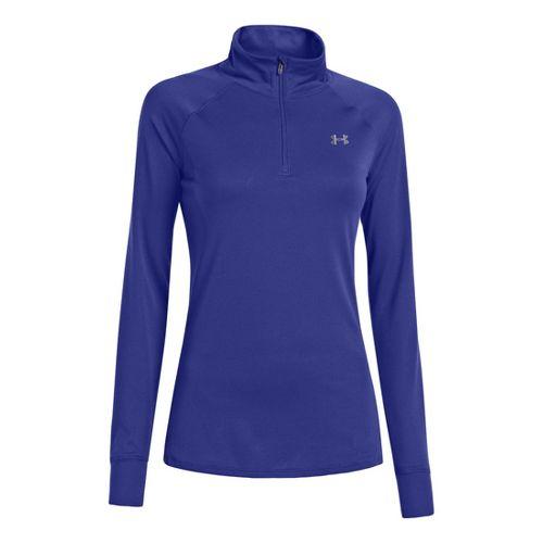 Womens Under Armour UA Tech Long Sleeve 1/2 Zip Technical Tops - Siberian Iris/Silver XL ...