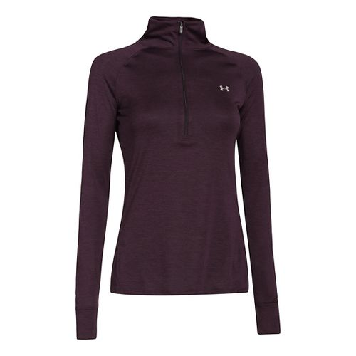 Womens Under Armour UA Tech Long Sleeve 1/2 Zip Technical Tops - Velvet Plum M ...