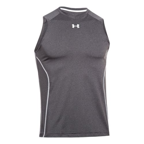 Mens Under Armour HeatGear Sonic Fitted Tanks Technical Tops - Carbon Heather XL