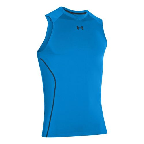 Mens Under Armour HeatGear Sonic Fitted Tanks Technical Tops - Electric Blue XXL