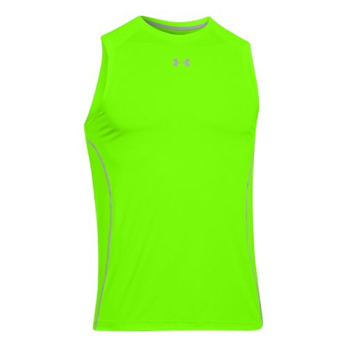 Mens Under Armour HeatGear Sonic Fitted Tanks Technical Tops - Hyper Green S