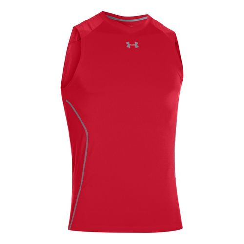 Mens Under Armour HeatGear Sonic Fitted Tanks Technical Tops - Red L