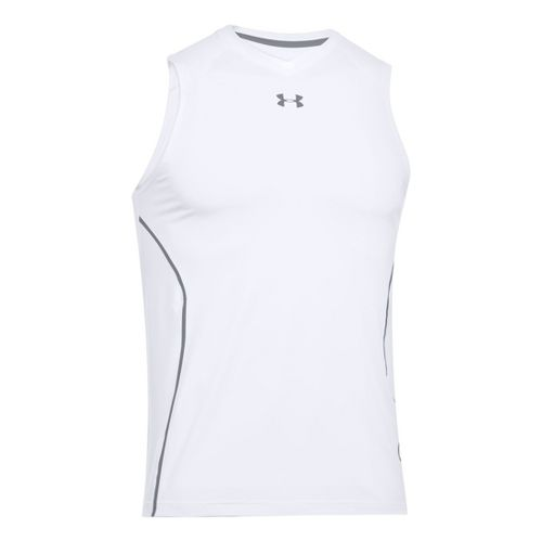 Mens Under Armour HeatGear Sonic Fitted Tanks Technical Tops - White S