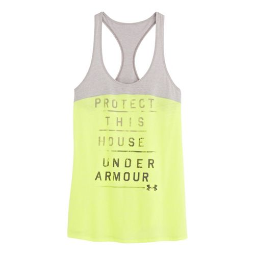 Womens Under Armour UA Charged Cotton Wordmark Tanks Technical Tops - X-Ray L