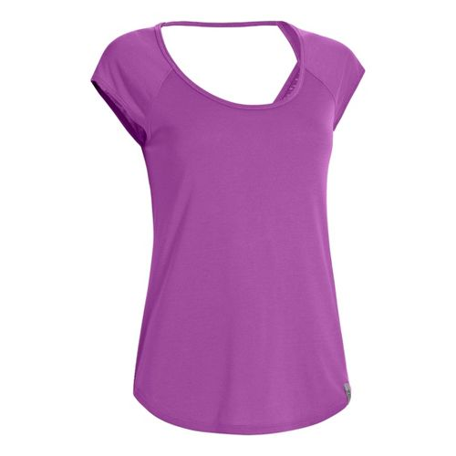 Womens Under Armour UA Fly-By T Short Sleeve Technical Tops - Exotic Bloom XL