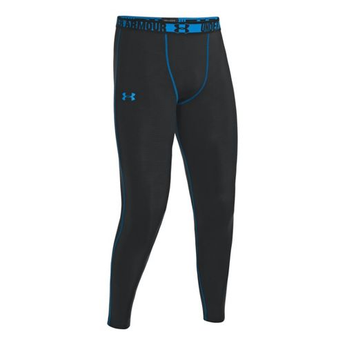 Mens Under Armour HeatGear Sonic Compression Leggings Fitted Tights - Black/Electric Blue XL