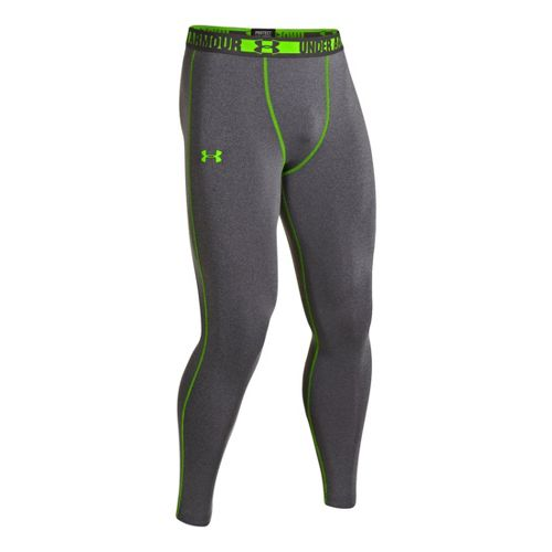 Mens Under Armour HeatGear Sonic Compression Leggings Fitted Tights - Carbon Heather M