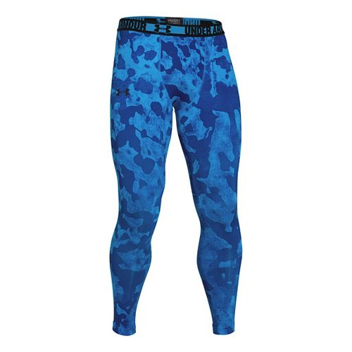 Mens Under Armour HeatGear Sonic Compression Leggings Fitted Tights - Electric Blue/Black XL
