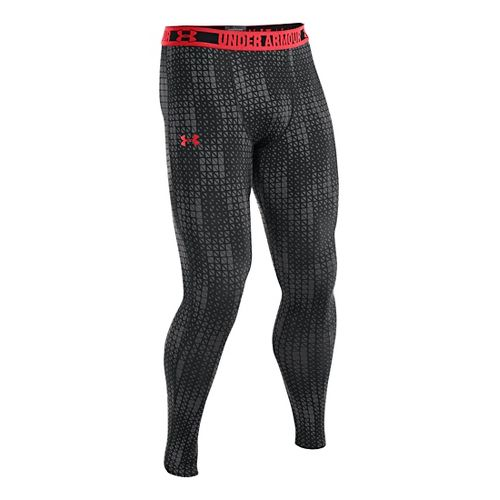 Mens Under Armour HeatGear Sonic Compression Leggings Fitted Tights - Graphite/Risk Red M