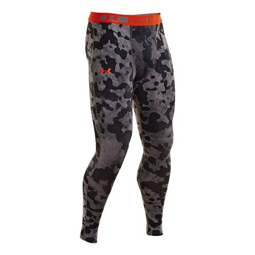 Mens Under Armour HeatGear Sonic Compression Leggings Fitted Tights - Graphite/Volcano XXL