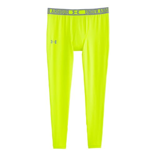 Mens Under Armour HeatGear Sonic Compression Leggings Fitted Tights - Hi-Viz Yellow/Steel S