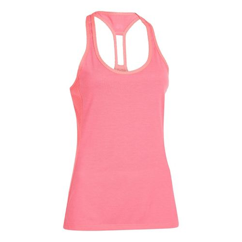 Womens Under Armour UA Fly-By-Stretch Mesh Tanks Technical Tops - Cerise L