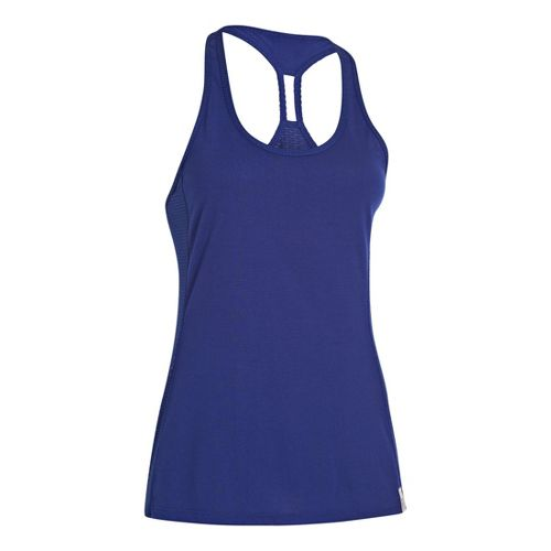 Womens Under Armour UA Fly-By-Stretch Mesh Tanks Technical Tops - Caspian L