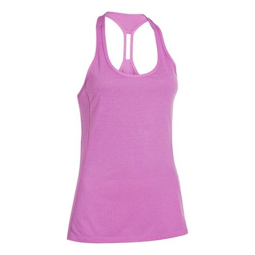 Womens Under Armour UA Fly-By-Stretch Mesh Tanks Technical Tops - Exotic Bloom XS
