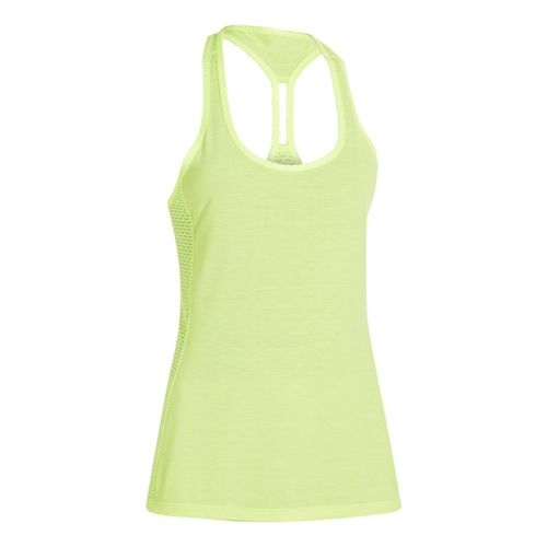Womens Under Armour UA Fly-By-Stretch Mesh Tanks Technical Tops - Laser Yellow XS