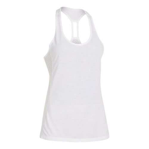 Womens Under Armour UA Fly-By-Stretch Mesh Tanks Technical Tops - White XS