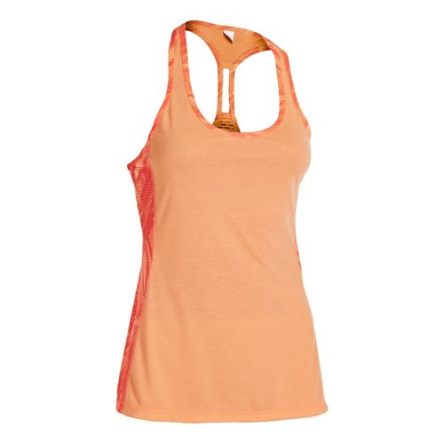 Womens Under Armour UA Fly-By Stretch Mesh Printed Tanks Technical Tops - After Glow L ...