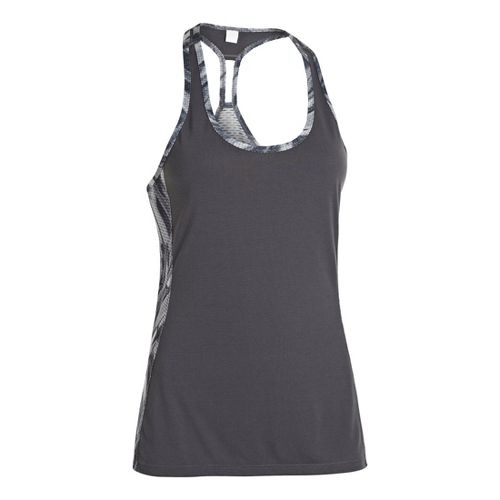 Womens Under Armour UA Fly-By Stretch Mesh Printed Tanks Technical Tops - Lead M