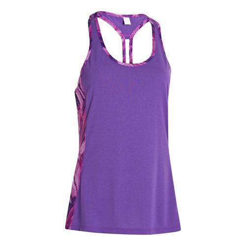 Womens Under Armour UA Fly-By Stretch Mesh Printed Tanks Technical Tops - Pride S