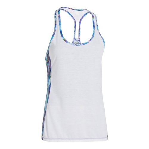 Womens Under Armour UA Fly-By Stretch Mesh Printed Tanks Technical Tops - White XS