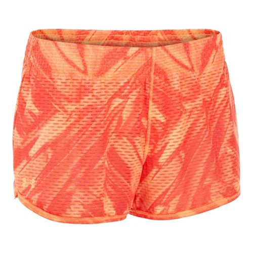 Womens Under Armour UA Fly-By Printed Knit Lined Shorts - After Glow XS