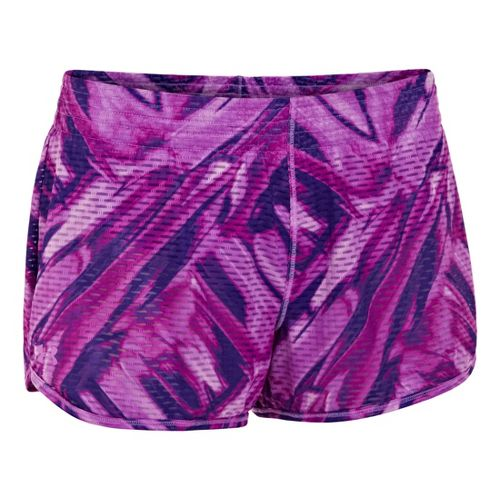 Womens Under Armour UA Fly-By Printed Knit Lined Shorts - Exotic Bloom L