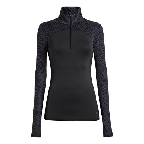 Womens Under Armour UA Printed Qualifier 1/4 Zip Long Sleeve Technical Tops - Black S ...