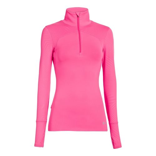 Womens Under Armour UA Printed Qualifier 1/4 Zip Long Sleeve Technical Tops - Cerise XL ...