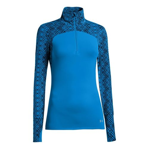 Womens Under Armour UA Printed Qualifier 1/4 Zip Long Sleeve Technical Tops - Electric Blue ...