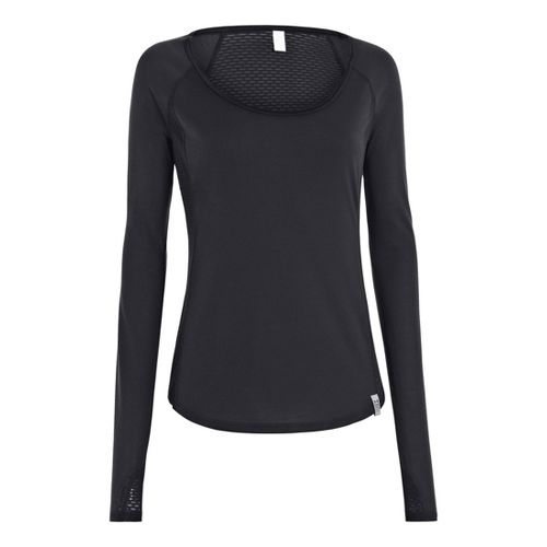 Womens Under Armour UA Fly-By Long Sleeve No Zip Technical Tops - Black XS