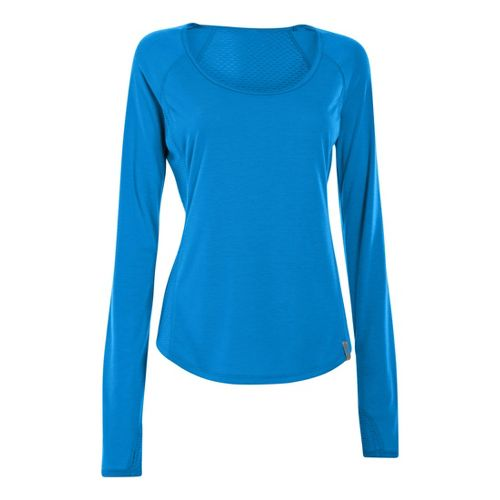 Womens Under Armour UA Fly-By Long Sleeve No Zip Technical Tops - Electric Blue XS ...