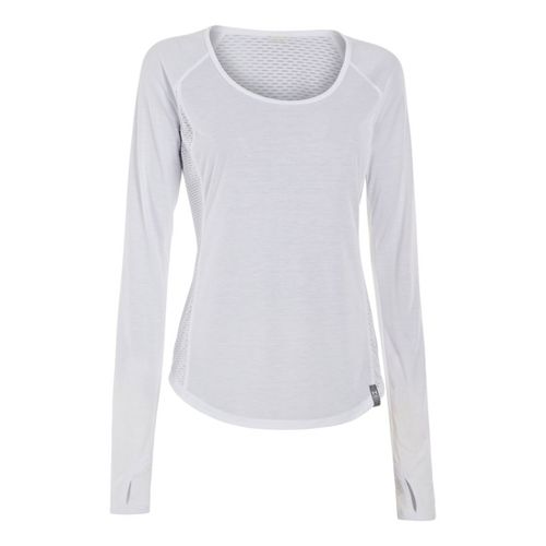 Womens Under Armour UA Fly-By Long Sleeve No Zip Technical Tops - White L