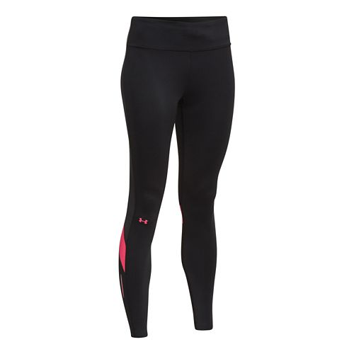 Womens Under Armour UA Fly-By Compression Legging Fitted Tights - Black/Pink Shock S