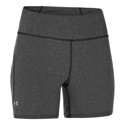 Womens Under Armour UA Stunner Unlined Shorts - Black Heather/Reflective L